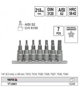 YT-0461 Set chei bit TORX cu gaura Yato