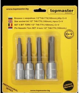 """Set 4 biti Torx 1/2"""" T40-T70 TOPMASTER"""
